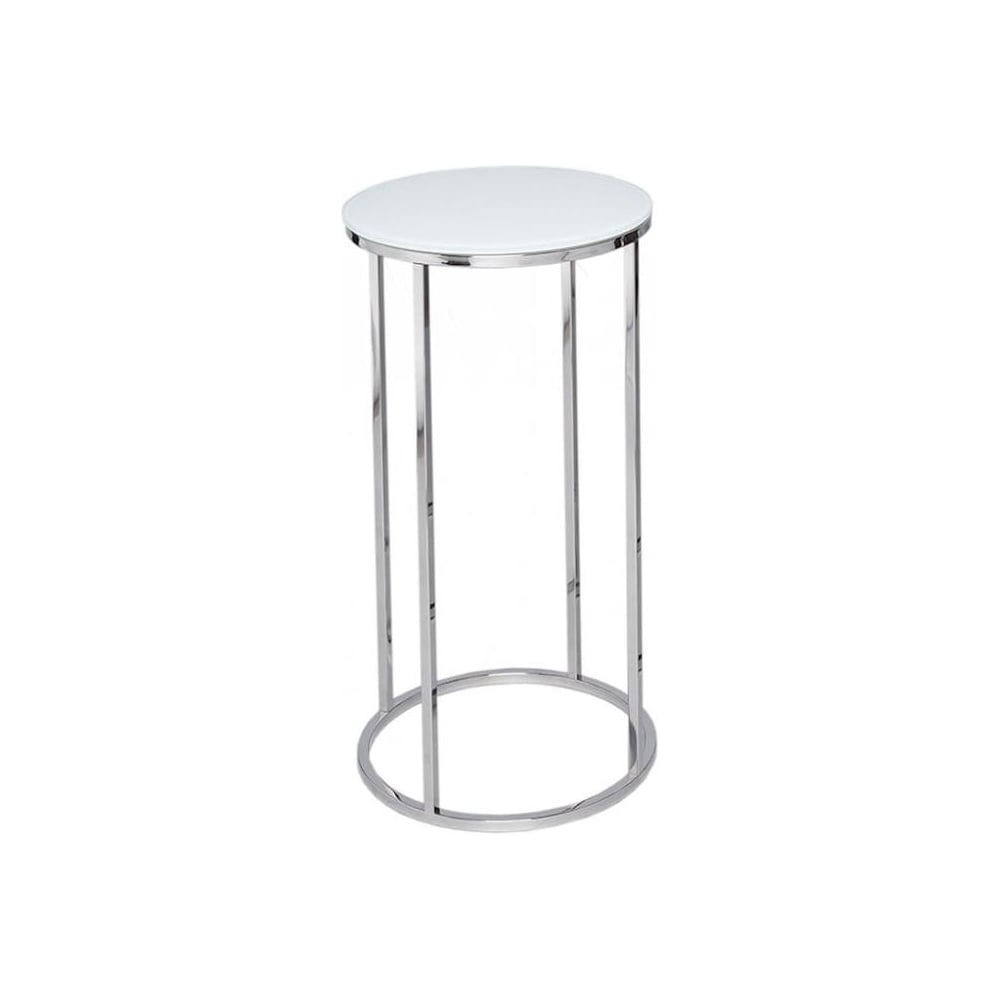 Buy This White Glass Amp Silver Circular Lamp Table From