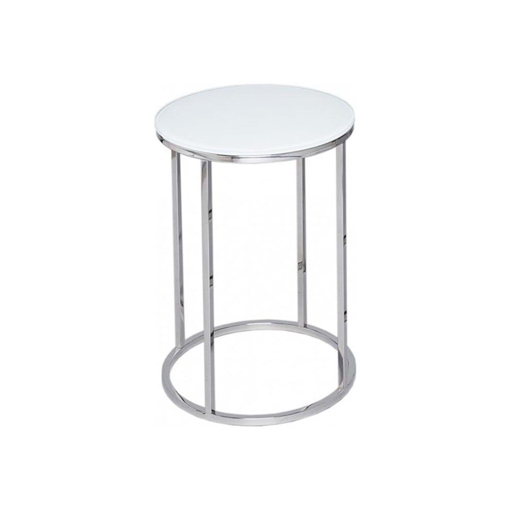 white glass and silver metal contemporary circular side table. buy this gillmore space glass  silver side table from fusion living