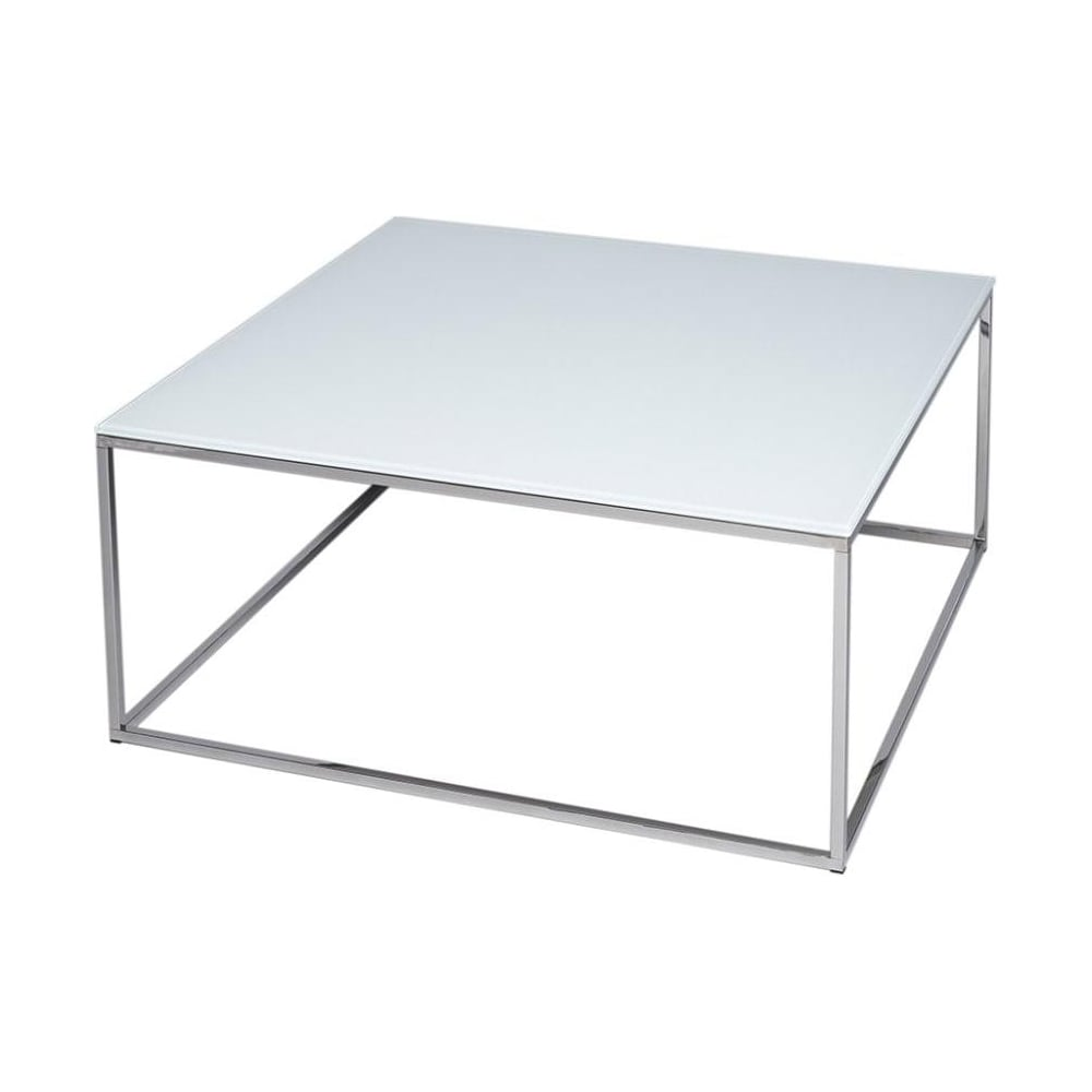 buy white glass silver metal square coffee table from fusion living. Black Bedroom Furniture Sets. Home Design Ideas