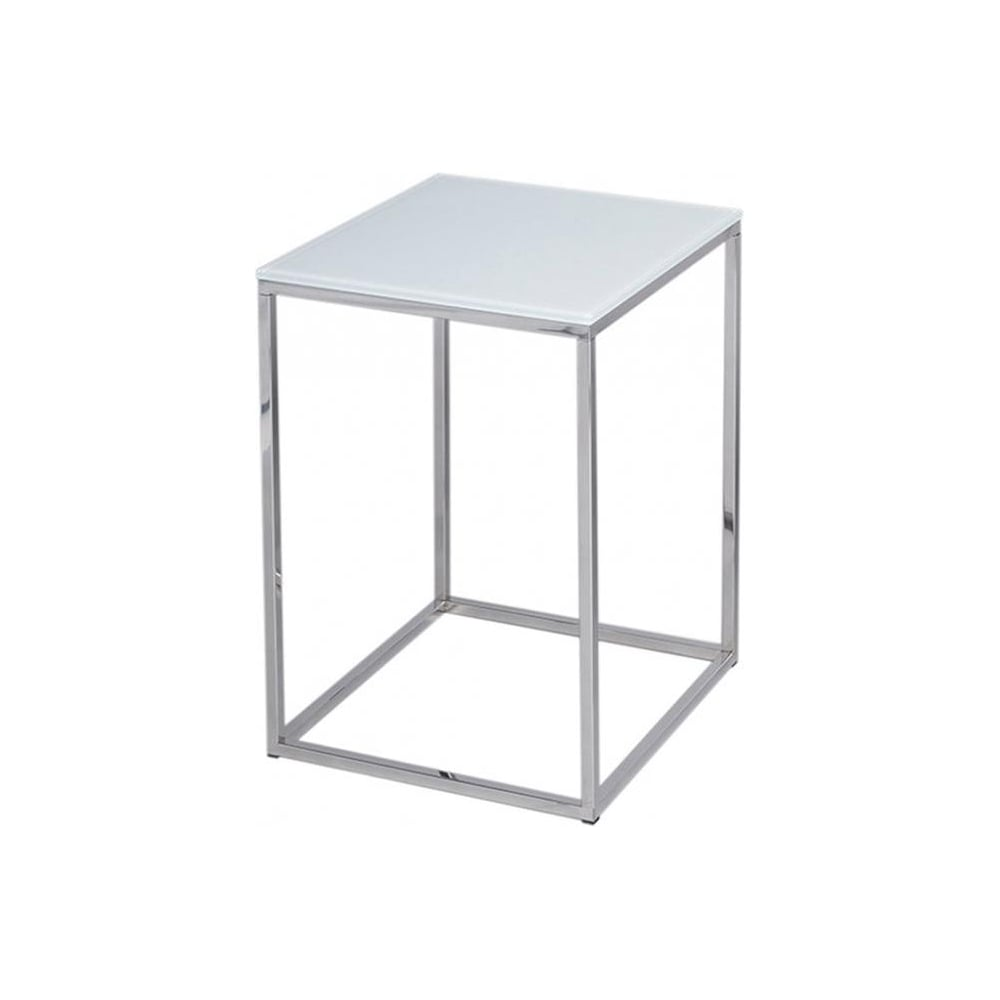Surprising White Glass And Silver Metal Contemporary Square Side Table Download Free Architecture Designs Ferenbritishbridgeorg