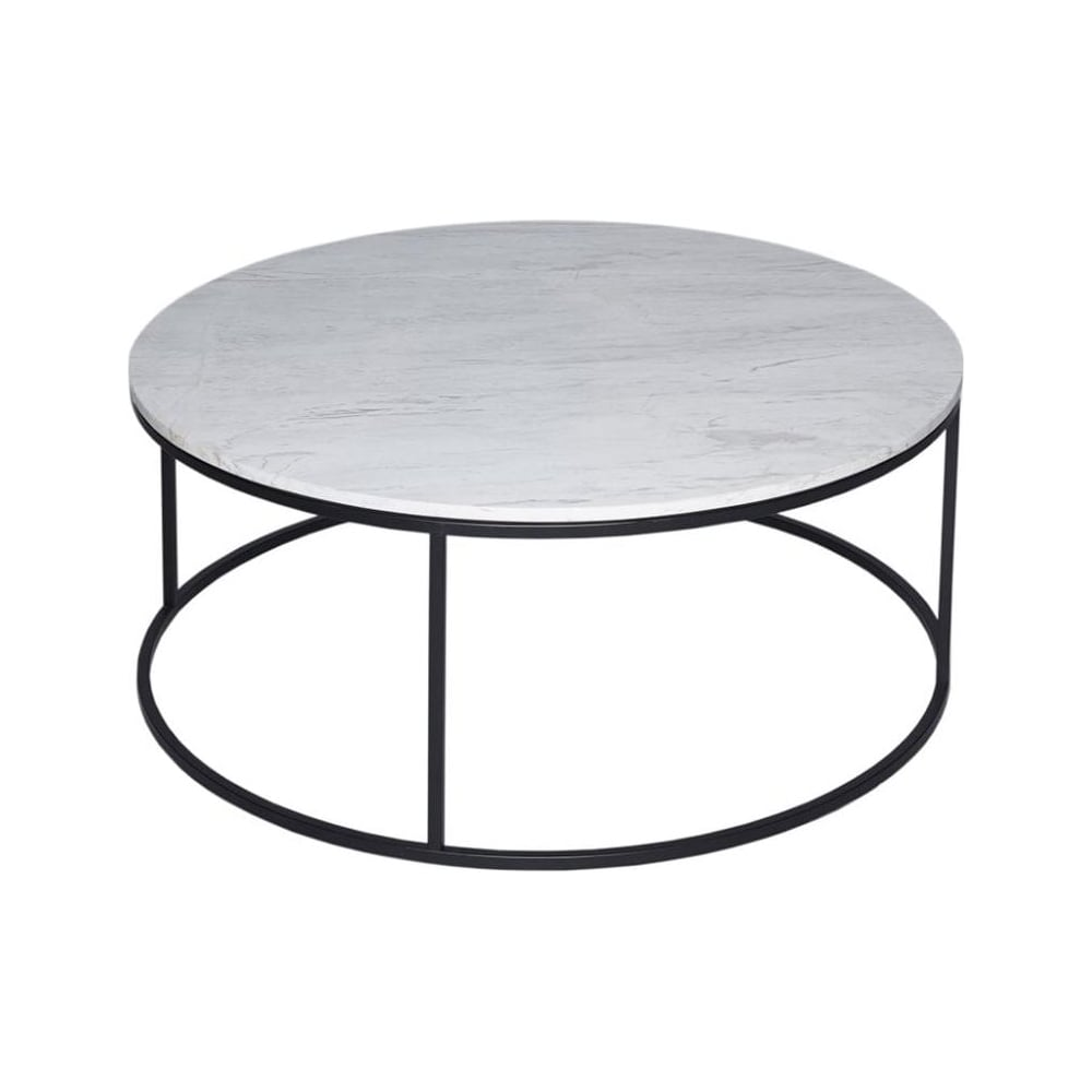 Buy White Marble And Black Metal Coffee Table From Fusion