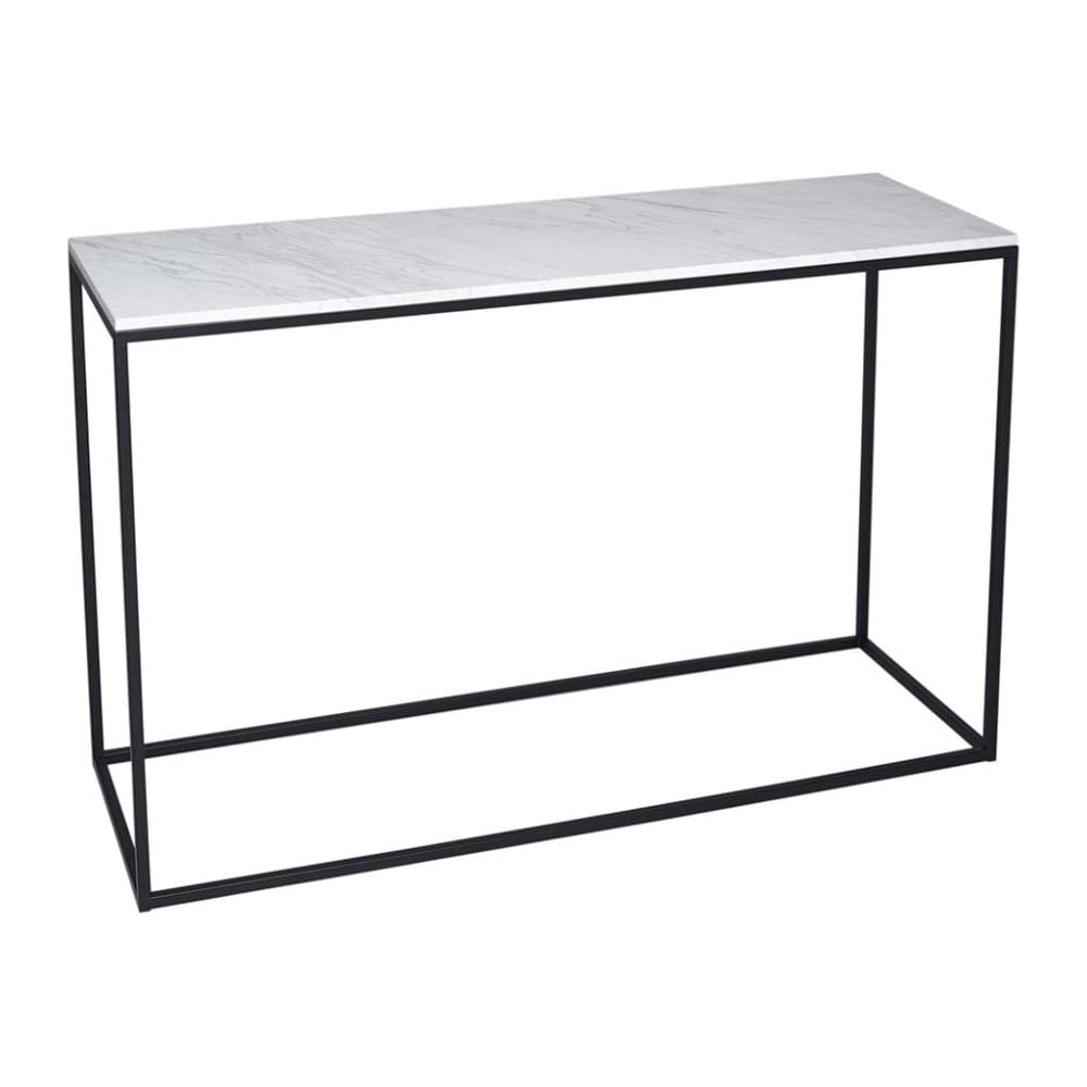 All Modern Foyer Tables : Buy white marble and black metal console table from fusion