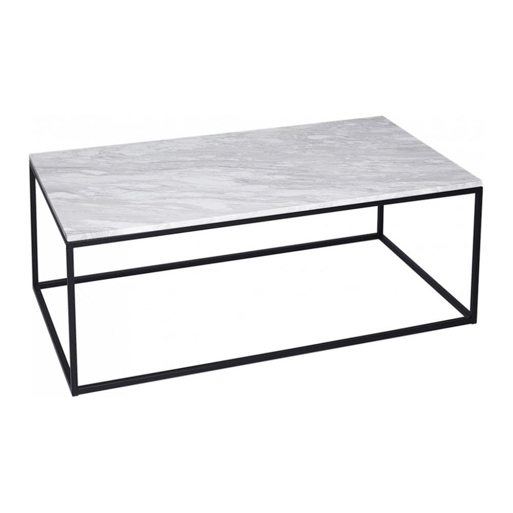 Buy white marble and black rectangular coffee table from for Coffee table 80 x 80