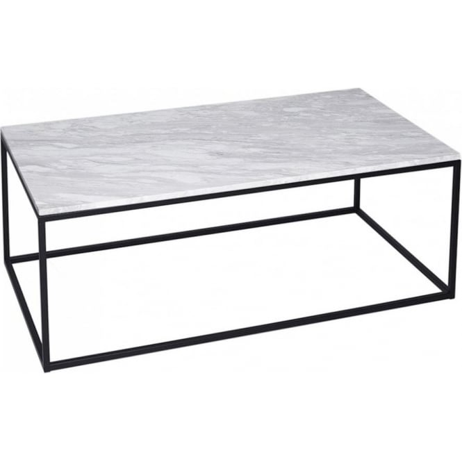Buy White Marble And Black Rectangular Coffee Table From