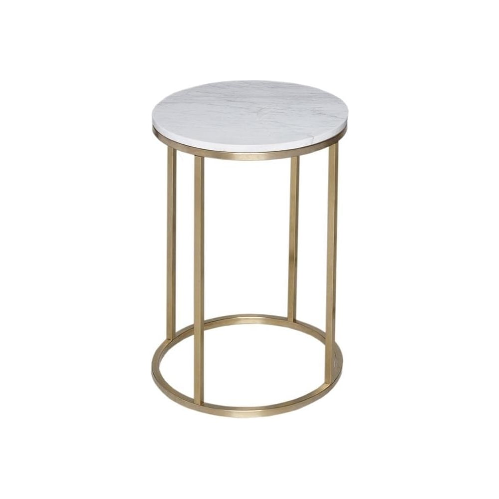 White Marble And Gold Metal Contemporary Circular Side Table
