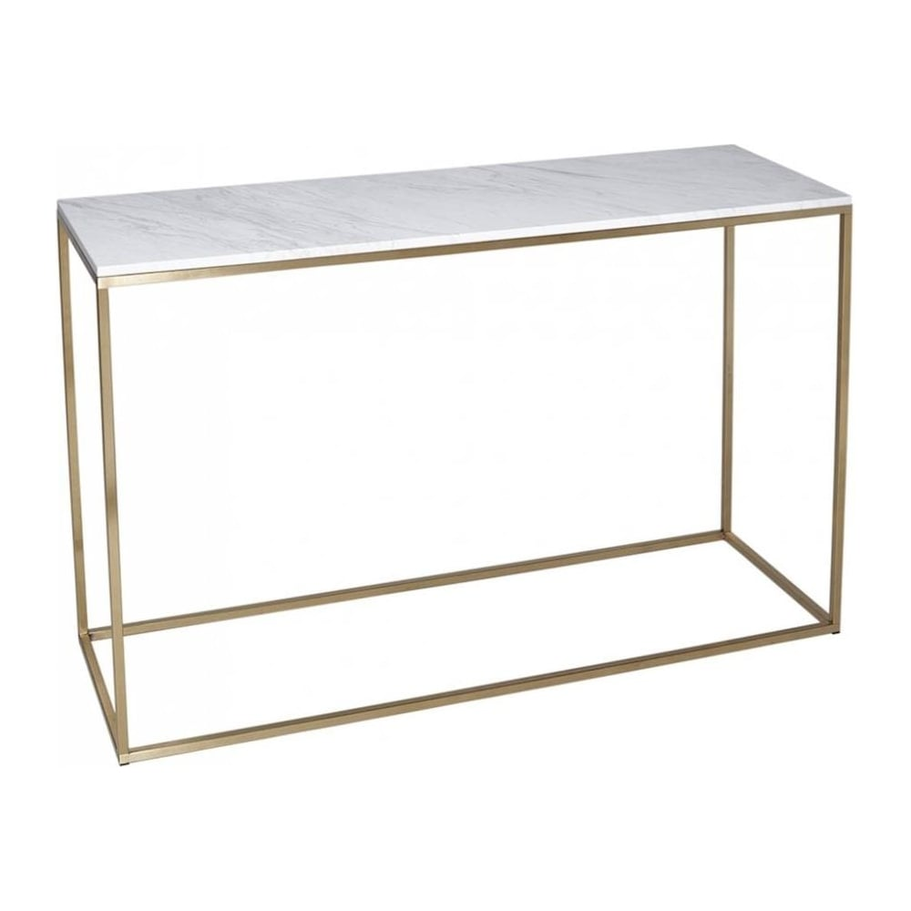 White Marble And Gold Metal Contemporary Console Table