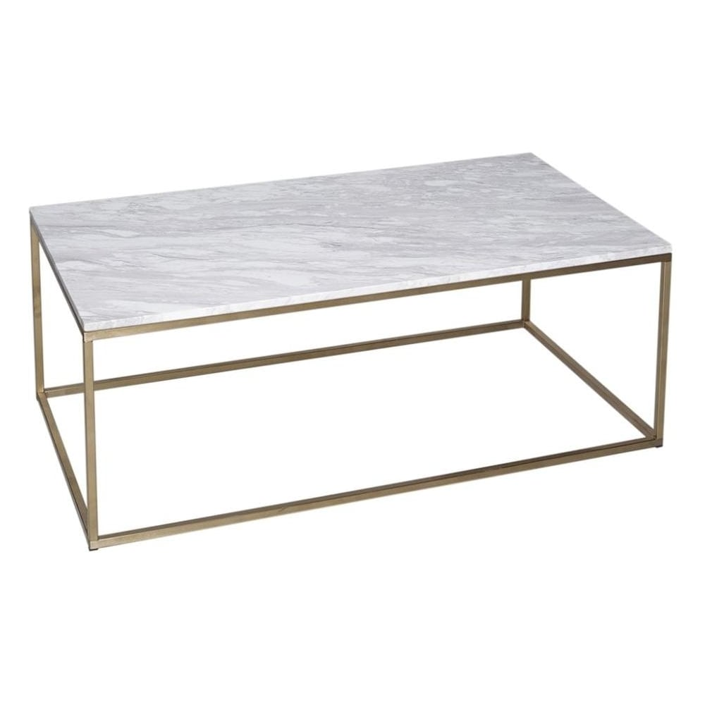 White Marble And Gold Metal Contemporary Rectangular Coffee Table