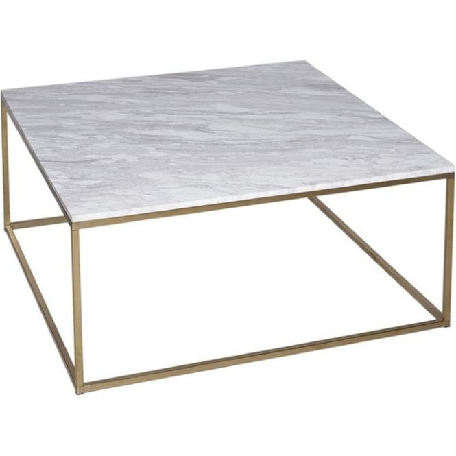 White Marble Top Coffee Table Rectangle: Buy White Marble And Silver Metal Coffee Table From Fusion