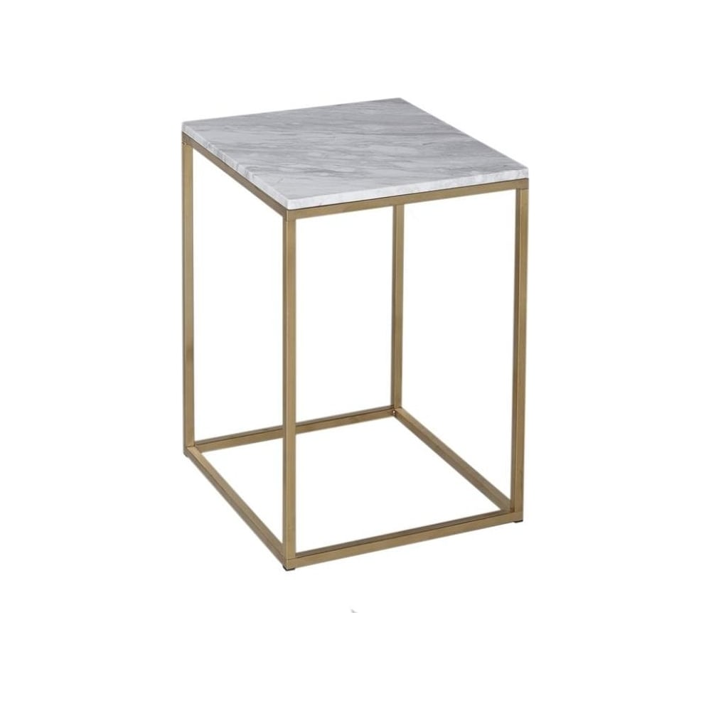 Buy White Marble and Gold Metal Square Side Table from