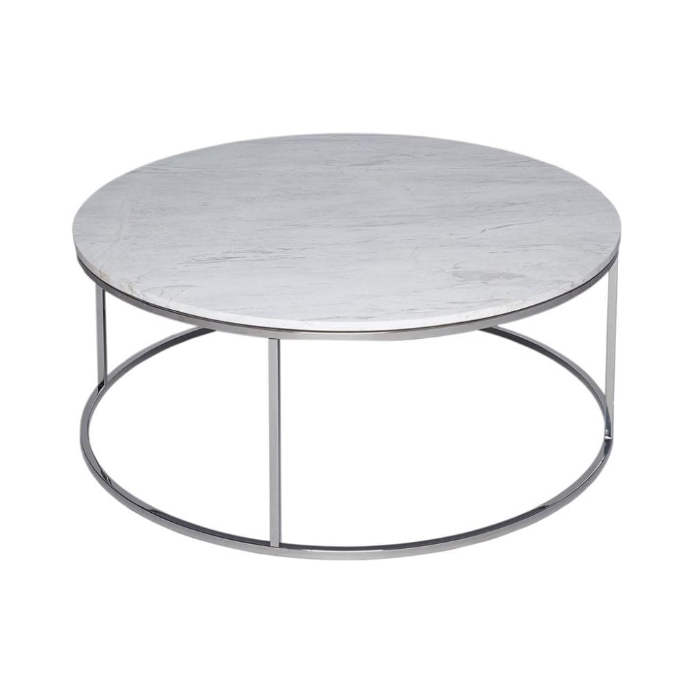 Bon White Marble And Silver Metal Contemporary Circular Coffee Table