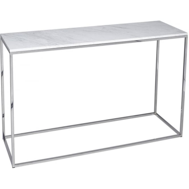 Buy White Marble And Silver Metal Console Table From
