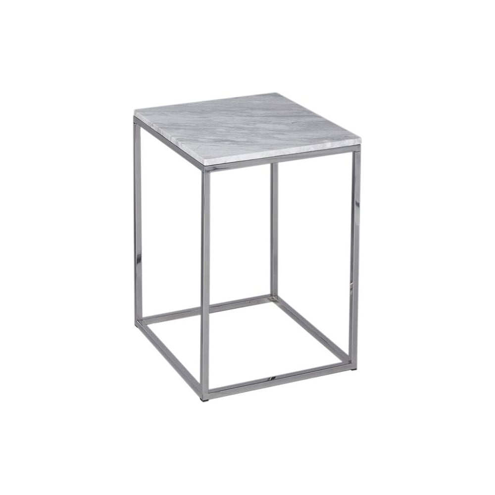 Marble And Silver Coffee Table.White Marble And Silver Metal Contemporary Square Side Table