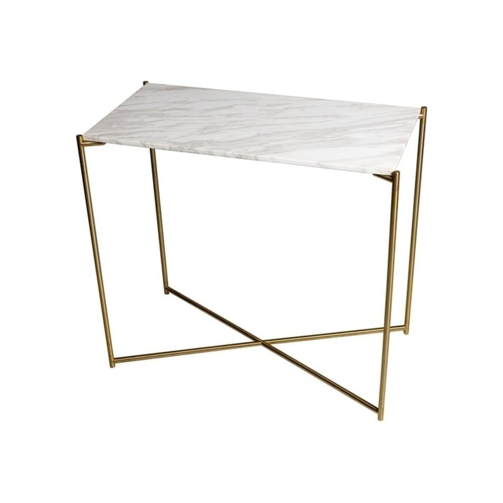 buy marble small console table with brass cross base at. Black Bedroom Furniture Sets. Home Design Ideas