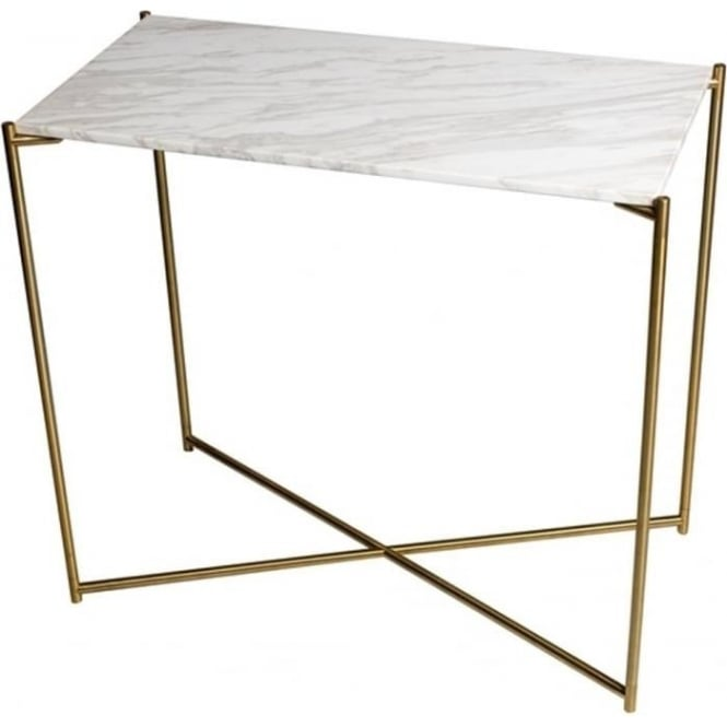Buy Marble Small Console Table With Brass Cross Base At