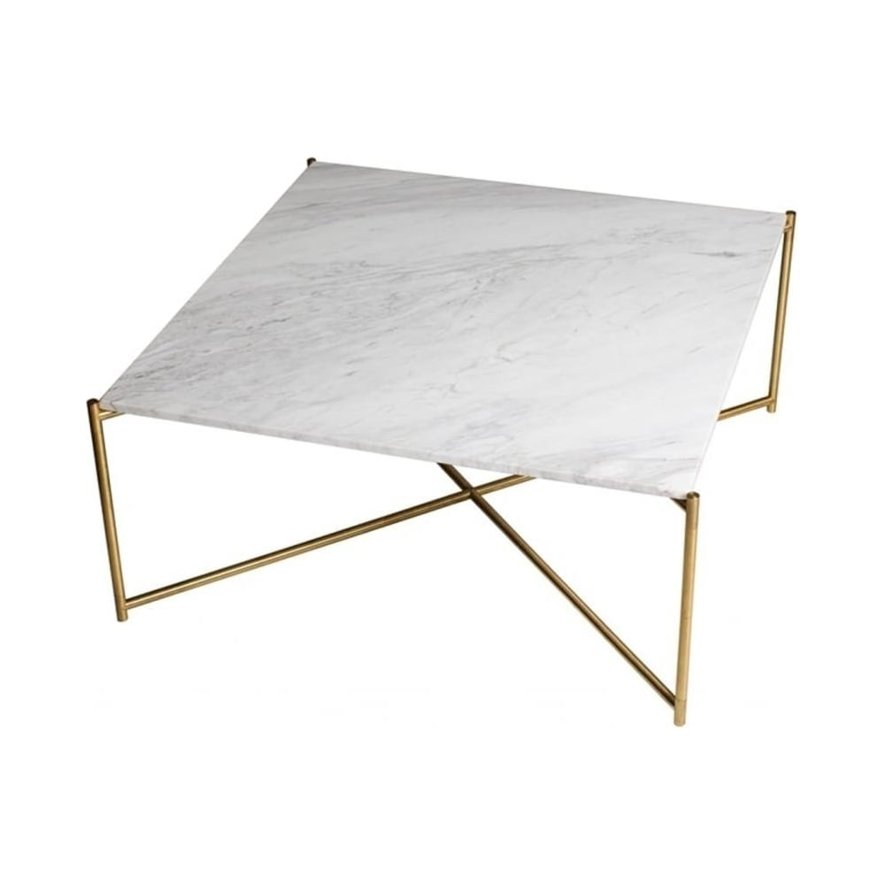 White Marble Top Coffee Table Rectangle: Buy White Marble Square Coffee Table & Brass Base At