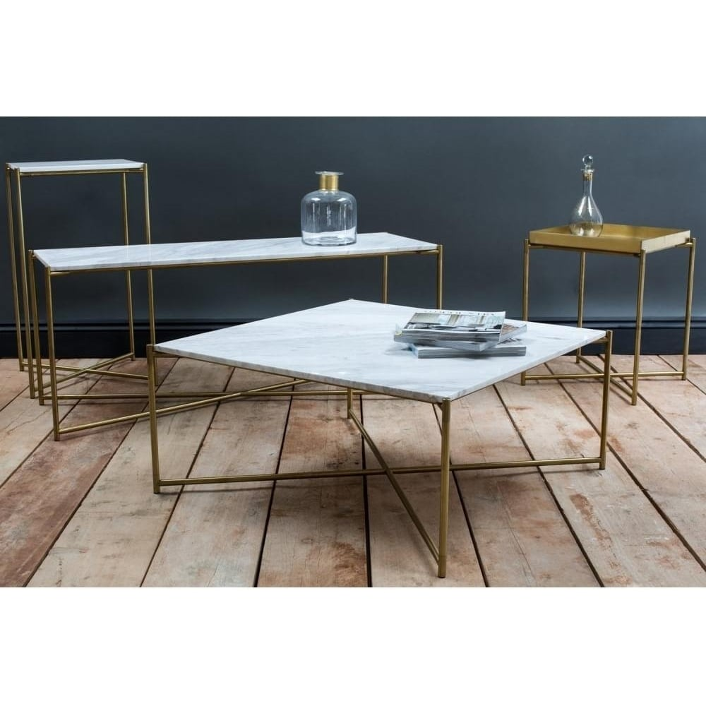 Gillmore Space White Marble Square Coffee Table With Brass Cross Base