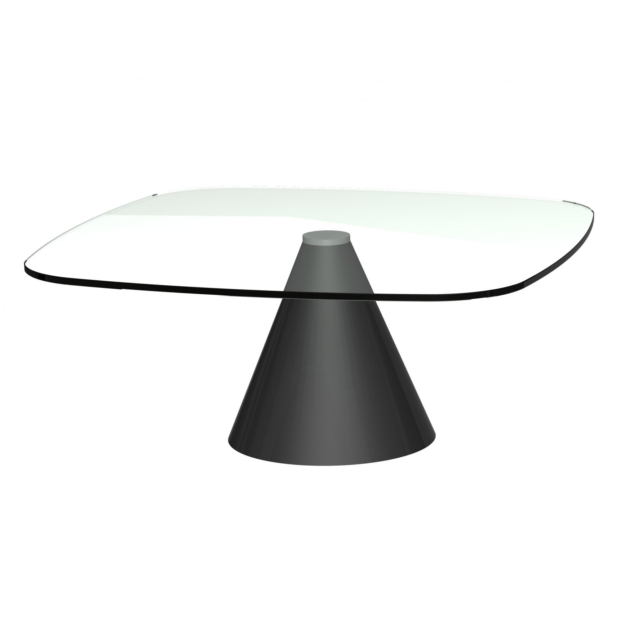 Picture of: Square Clear Glass Coffee Table W Conical Black Base From Fusion