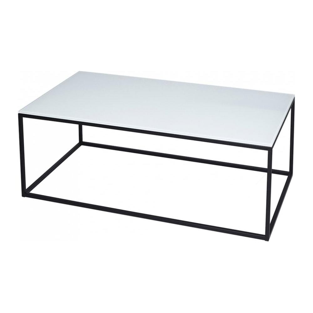 White Glass And Black Metal Contemporary Rectangular Coffee Table