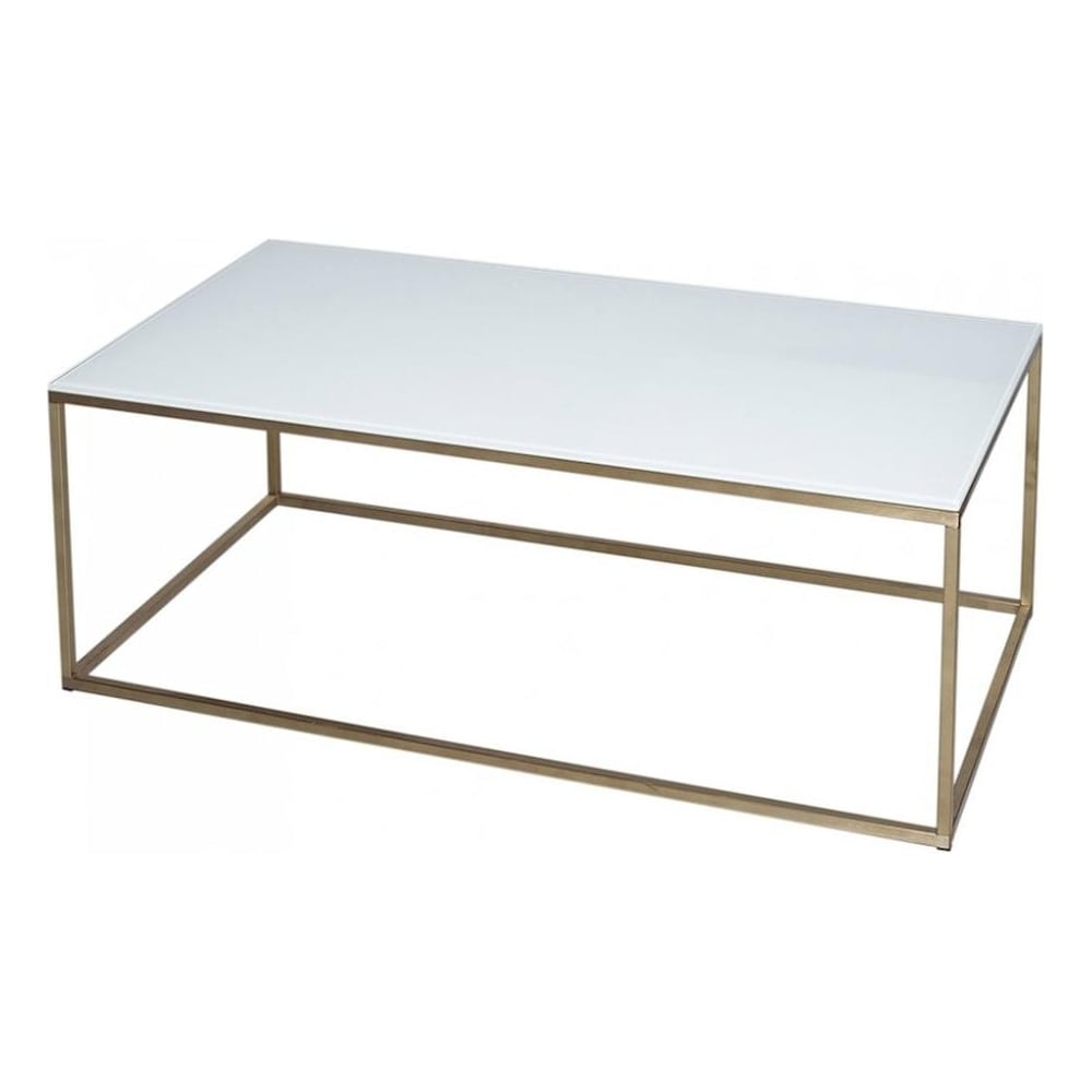 White Glass And Gold Metal Contemporary Rectangular Coffee Table [ 1000 x 1000 Pixel ]