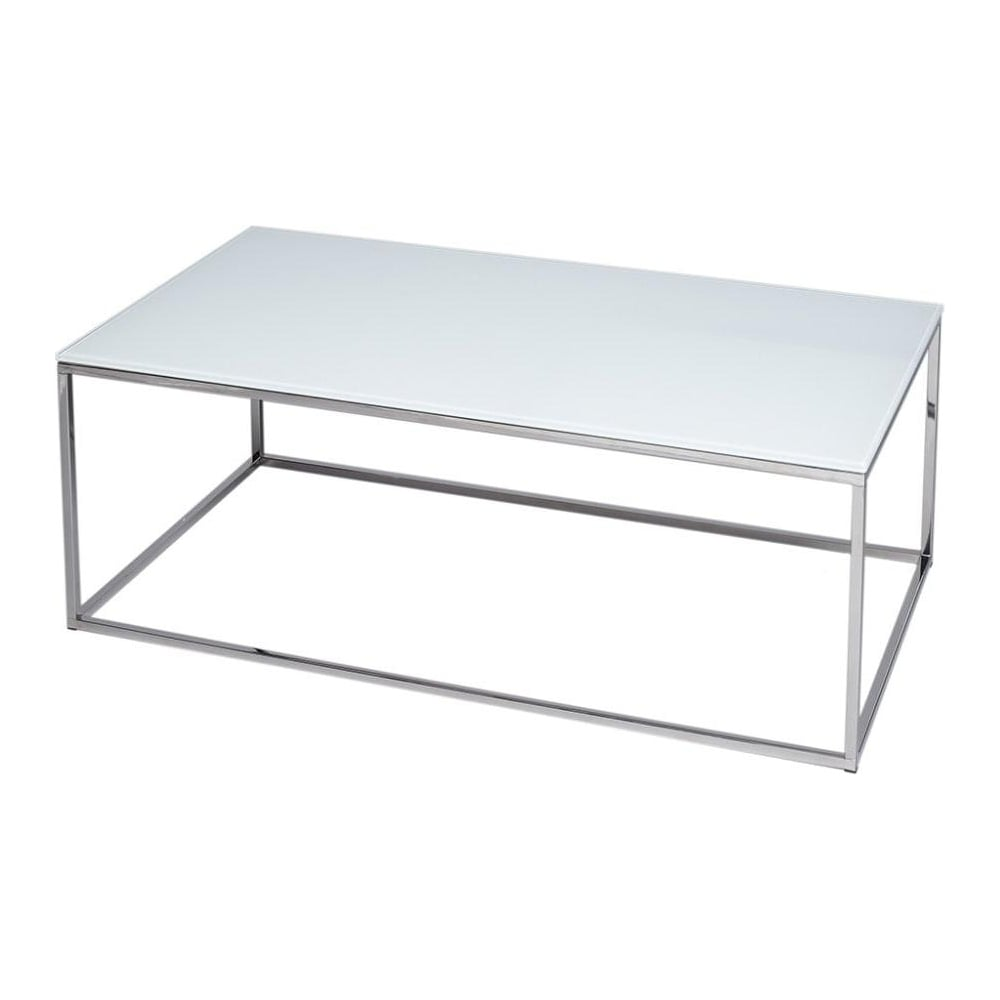 White Glass And Silver Metal Contemporary Rectangular Coffee Table [ 1000 x 1000 Pixel ]