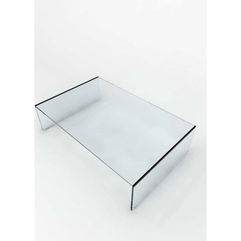 Glass domain crystal clear contemporary glass coffee table for Clear coffee table