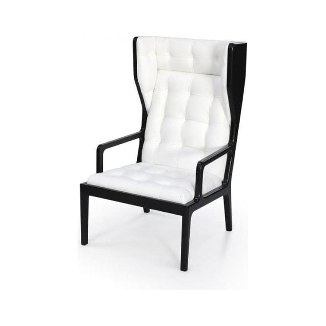 Black And White Leather Wingback Armchair
