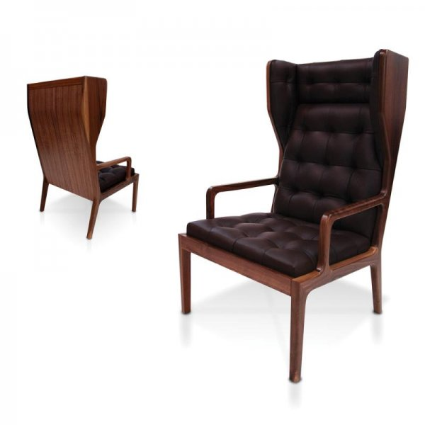 James UK Black Leather Wingback Armchair from Fusion Living