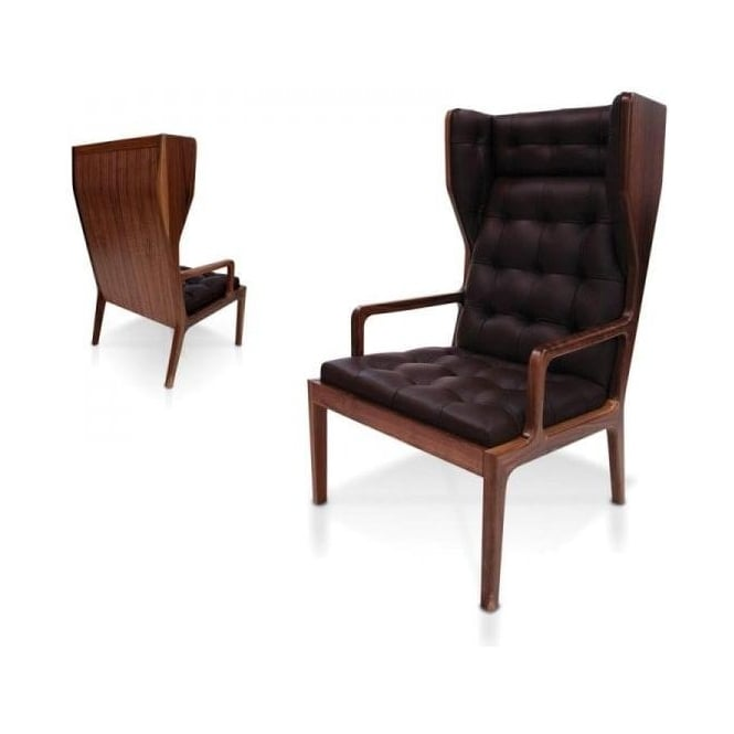 Black Leather Wingback Armchair