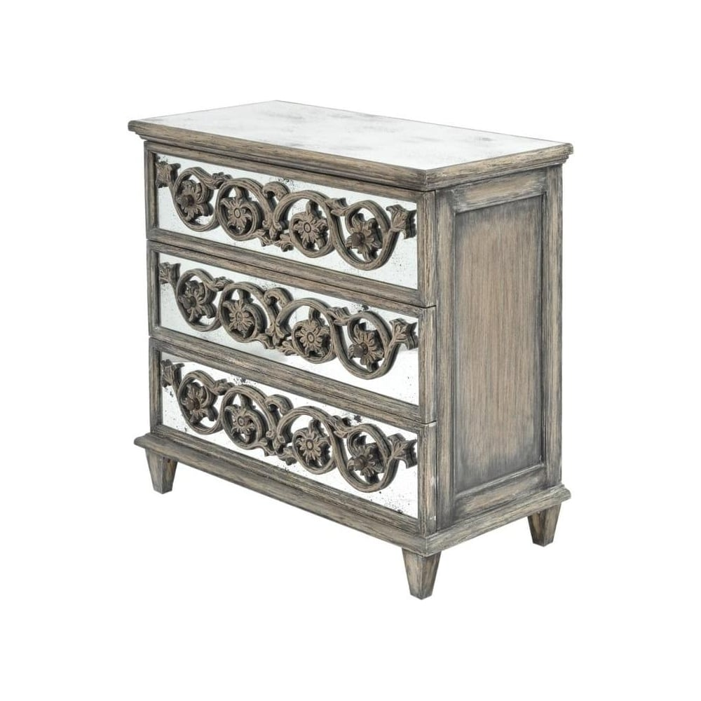 Buy antique wood and mirrored 3 drawer chest from fusion for Reclaimed wood furniture colorado