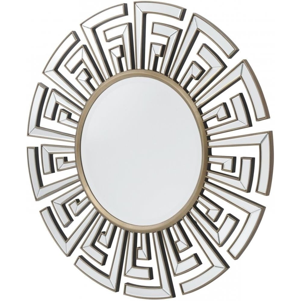 Buy Art Deco Aztec Style Large Circular Mirror From Fusion Living