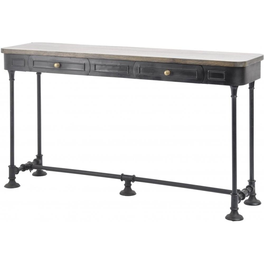Black Metal Vintage Industrial Style Console Table With Solid Wood Top