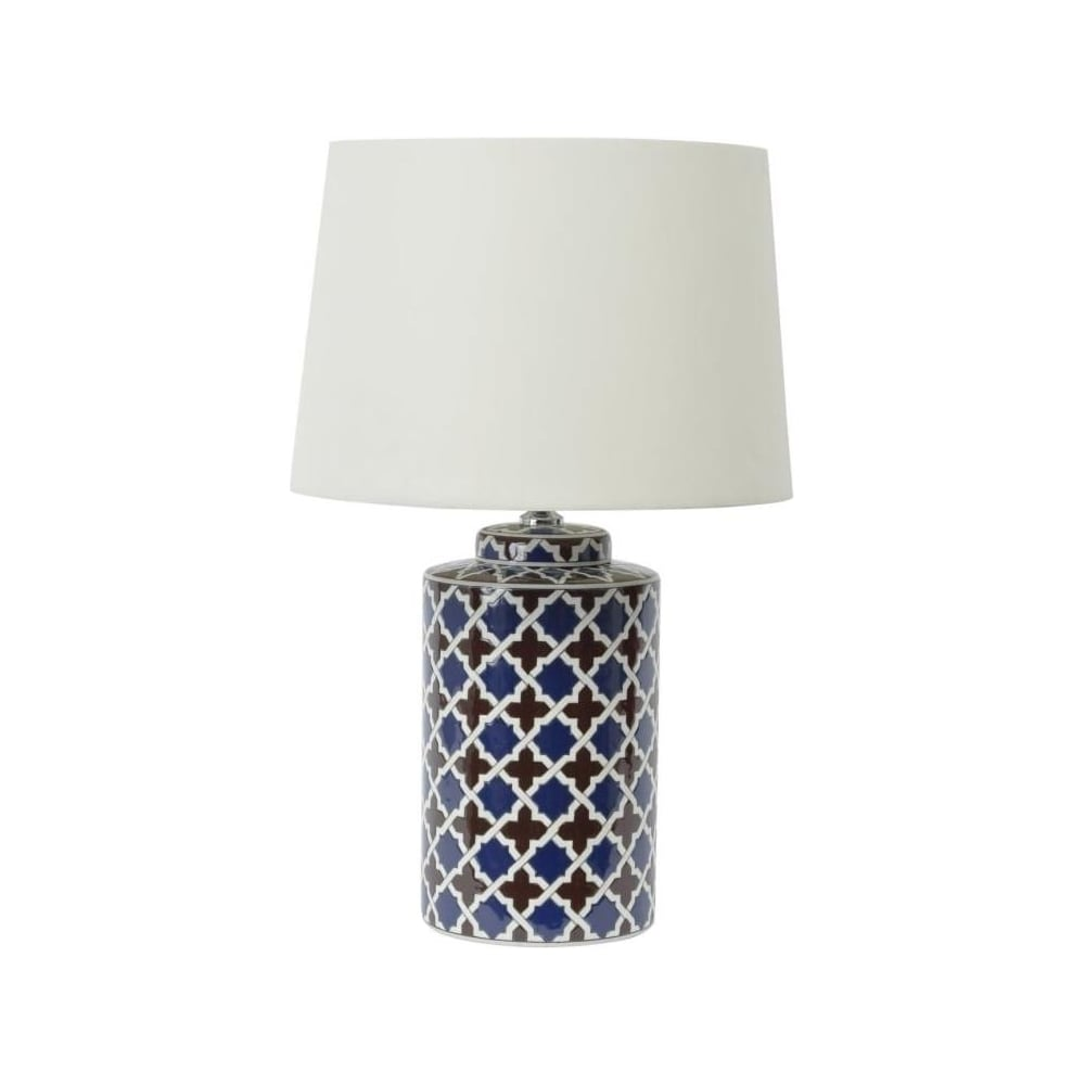 Buy blue brown ceramic table lamp with white shade at fusion living blue and brown ceramic patterned table lamp with white shade aloadofball Choice Image