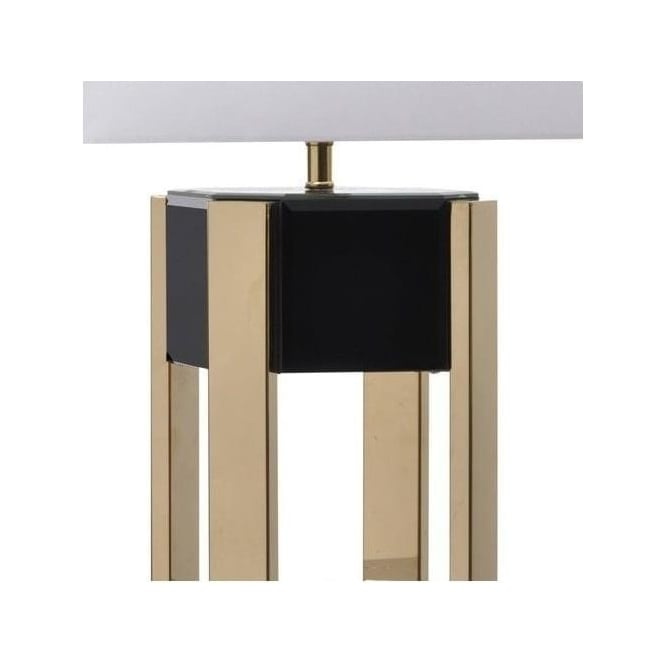 Contemporary Black Glass And Gold Table Lamp With Cream Shade