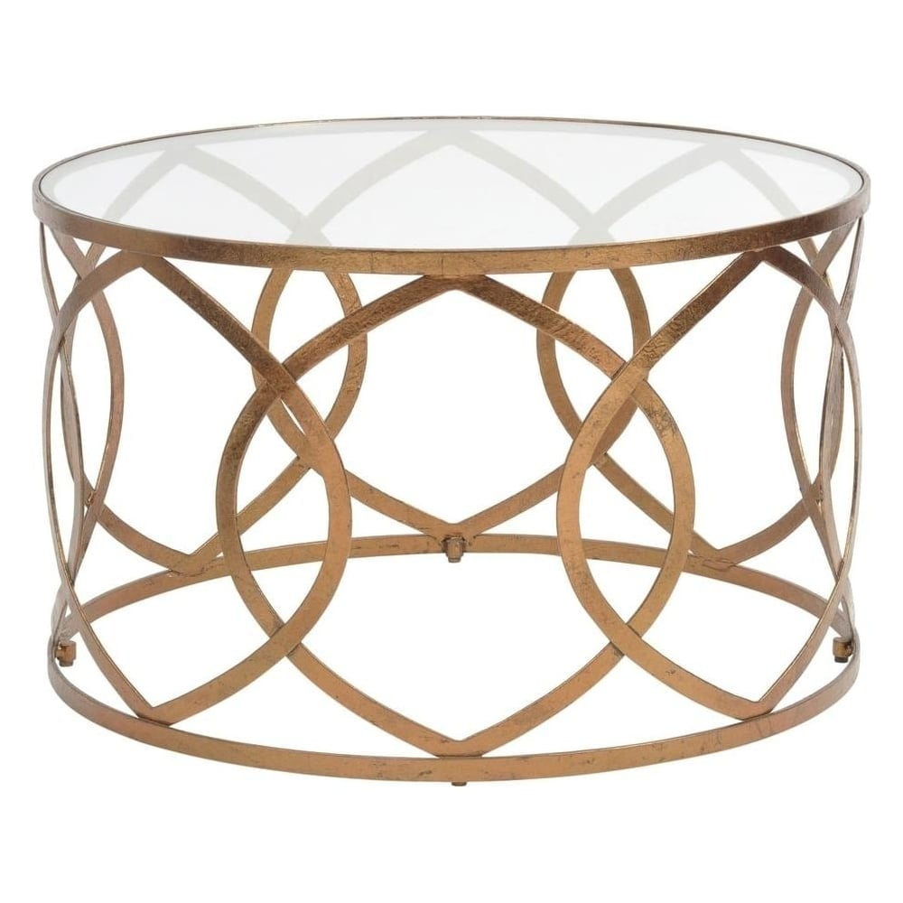 Round Glass Pedestal Coffee Table: Buy Copper Leaf And Glass Round Coffee Table From At