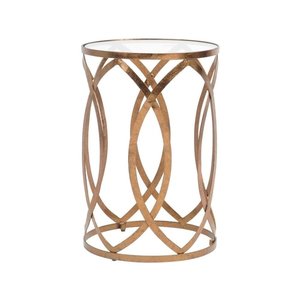 Buy Copper Leaf and Glass Round Side Table from at Fusion Living