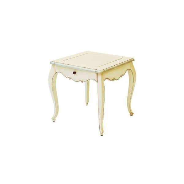 Cream And Silver Distressed French Style Side Table