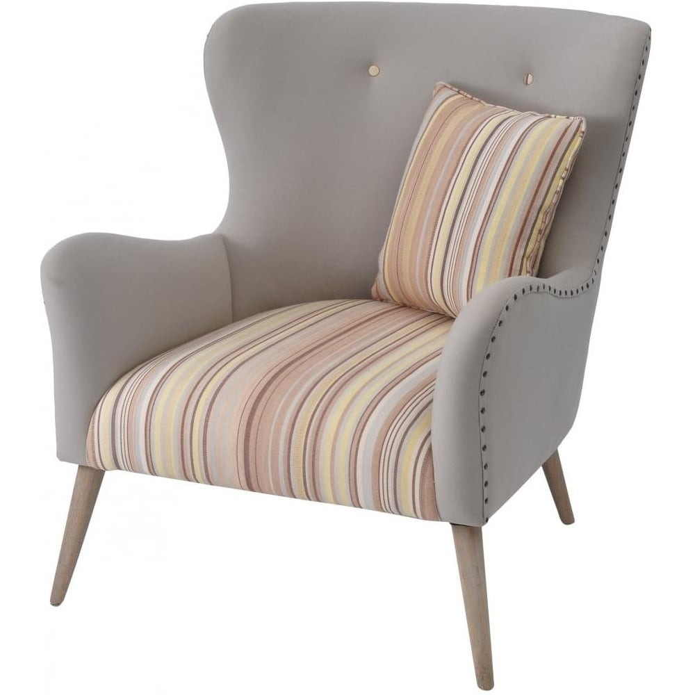 Buy Libra Cream and Striped Retro Style Arm Chair from ...