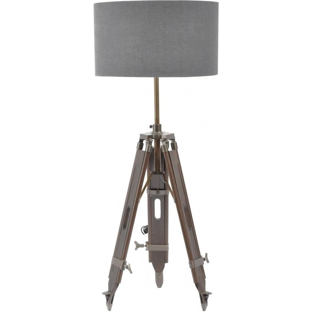 buy dark wood tripod floor lamp with grey shade from fusion living. Black Bedroom Furniture Sets. Home Design Ideas
