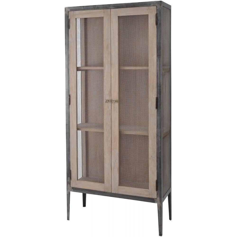 Buy Libra Distressed Wood And Metal Large Cabinet From