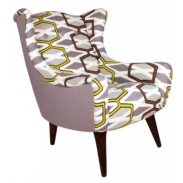 Delicieux Geometric Retro Style Wing Chair