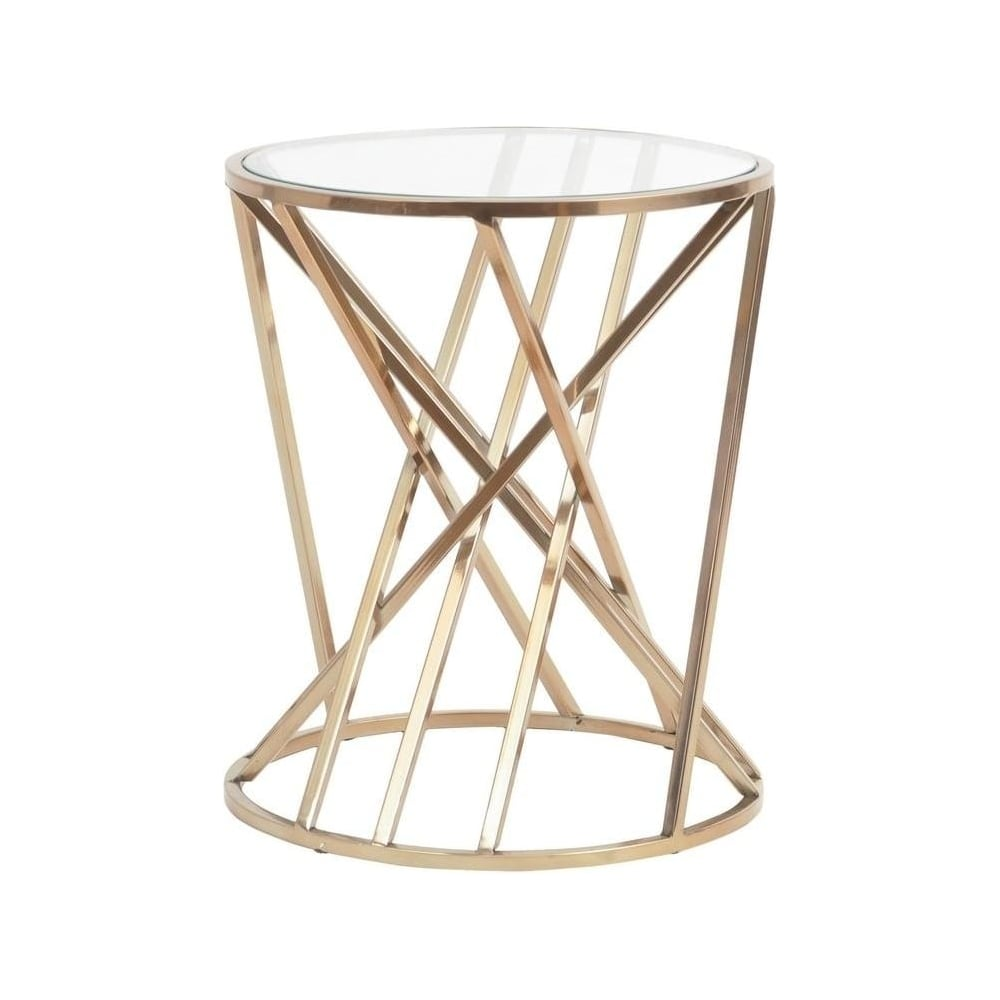 Gold twist side table with glass top