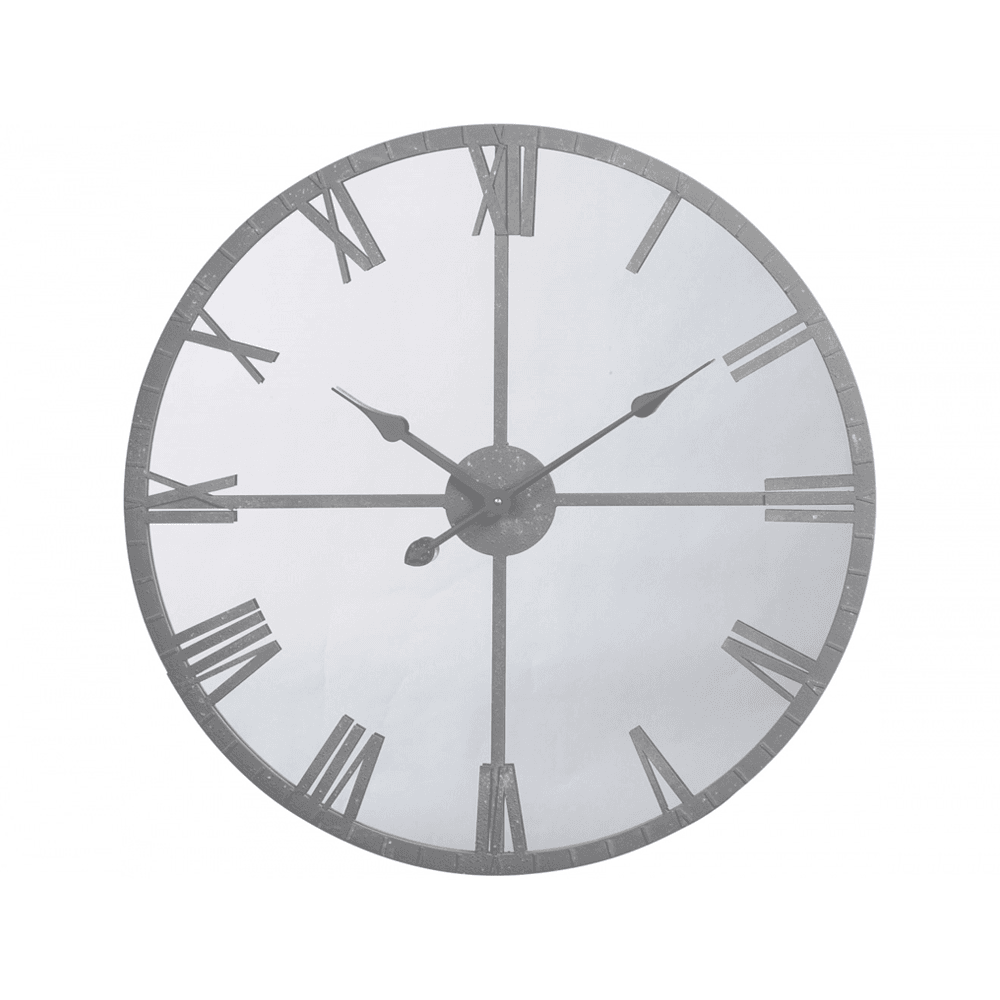 Industrial Style Mirrored Wall Clock With Grey Frame At