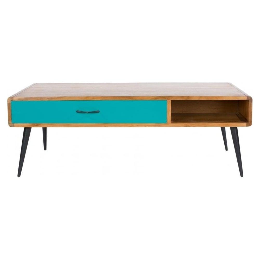 Contemporary Vintage Coffee Tables: Buy Libra Lightwood Multicoloured Retro Coffee Table At