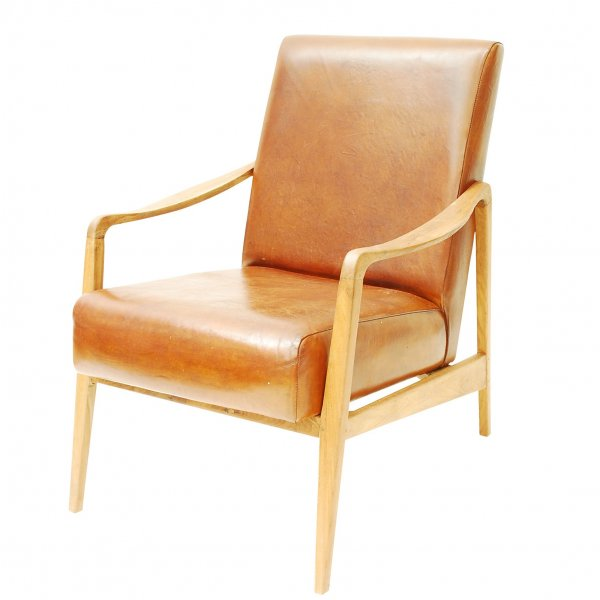 Libra Low Slung Leather Retro Armchair from Fusion Living ...