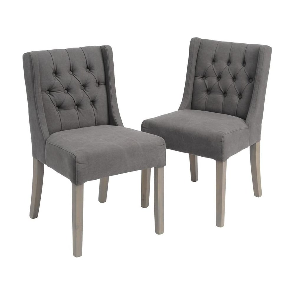 Good Mid Grey Low Back Button Dining Chairs