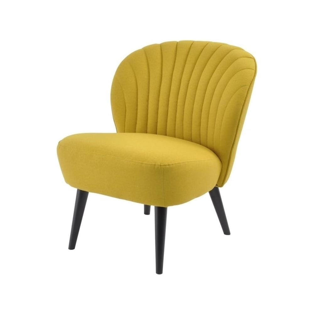 Mustard shell curved back upholstered chair