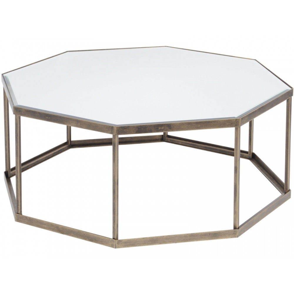 Libra Furniture Octagonal Mirrored And Antique Gold Coffee Table