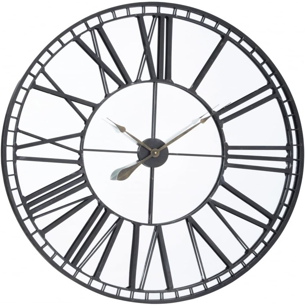 Buy Oversized Black Iron Amp Mirror Skeleton Wall Clock At