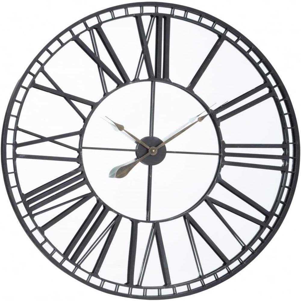 Buy Oversized Black Iron Amp Mirror Skeleton Wall Clock At
