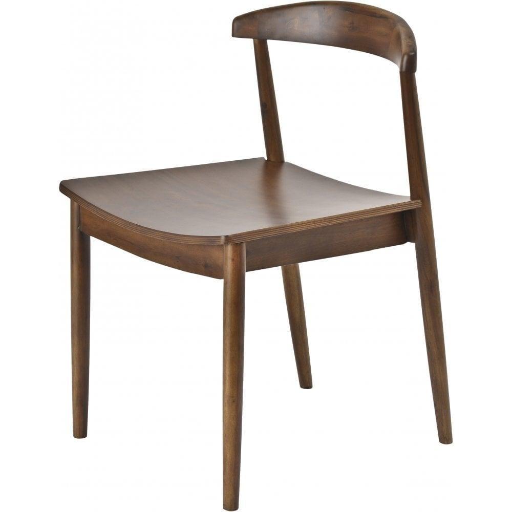 Pair Of Dark Walnut Wood Retro Style Dining Chairs